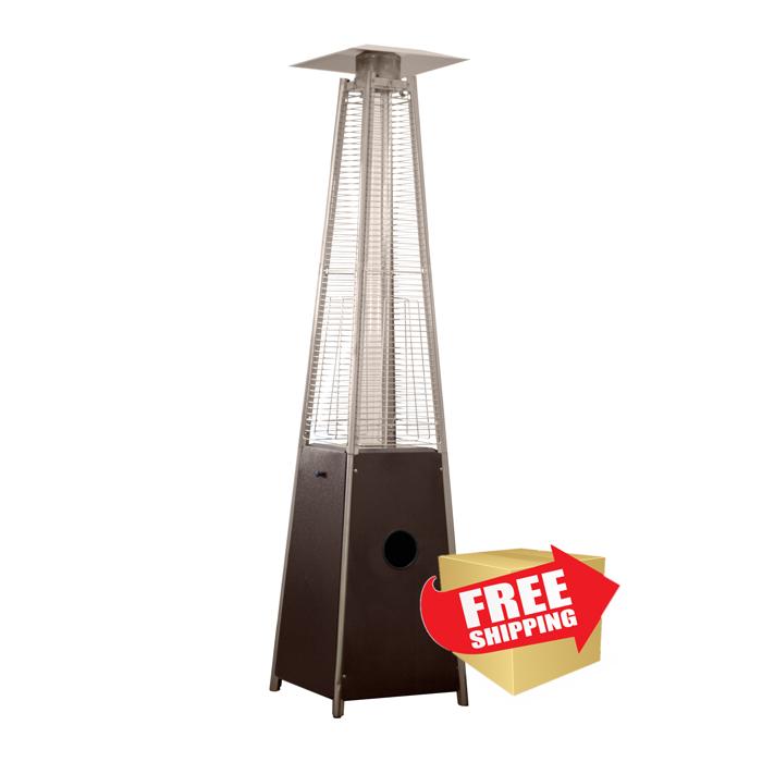 Tall Quartz Glass Tube Heater- Hammered Bronze Finish
