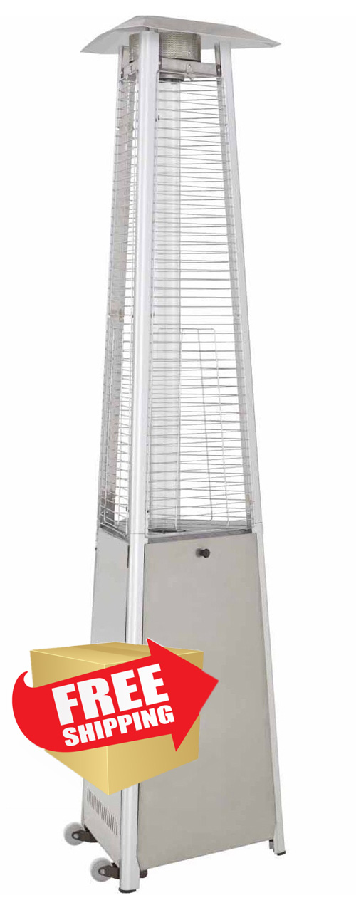 Tall Commercial Triangle Glass Tube Heater-Stainless Steel