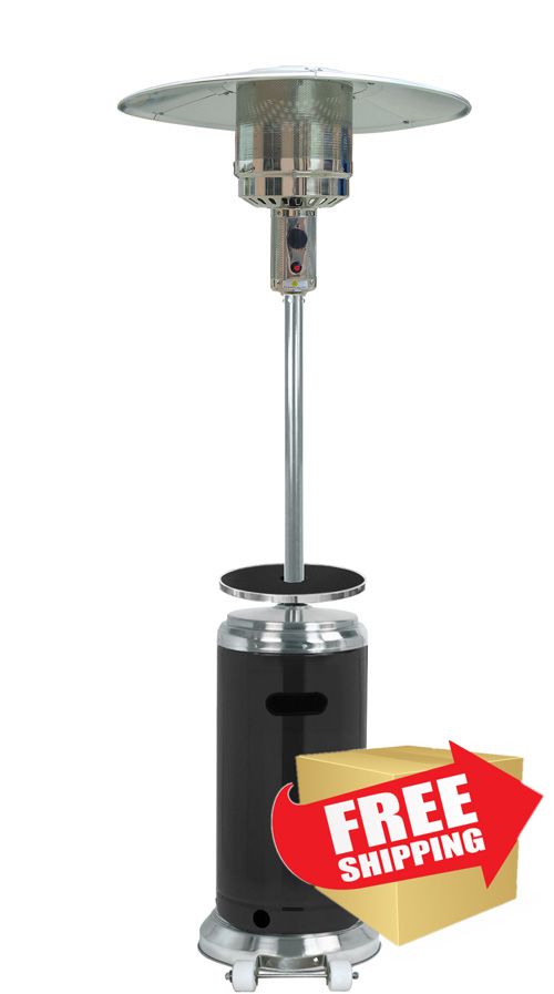 """87"""" Two Tone Outdoor Patio Heater with Table Black & Stainless Steel"""