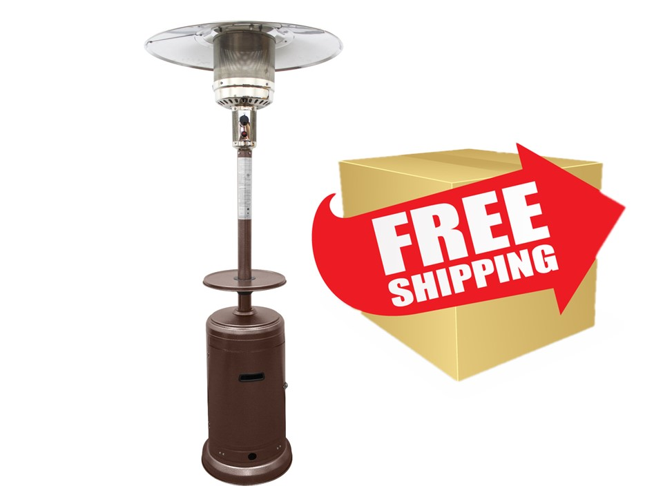"""87"""" Tall Outdoor Patio Heater with Metal Table in Hammered Bronze"""