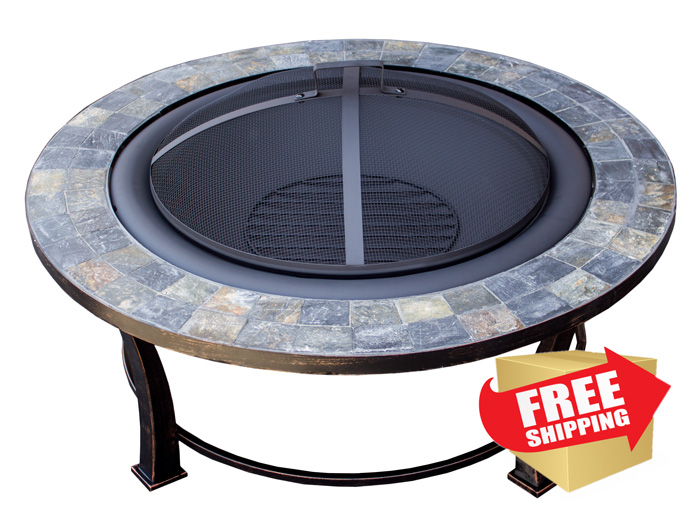 "40"" Round Slate Top Wood Burning Firepit"