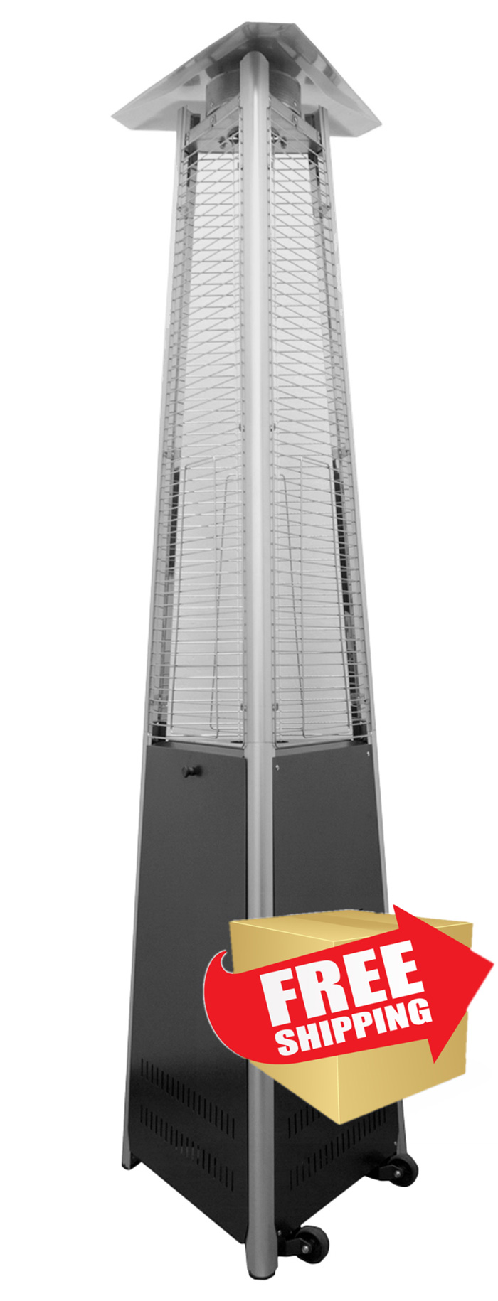 Tall Commercial Triangle Glass Tube Heater-Matte Black