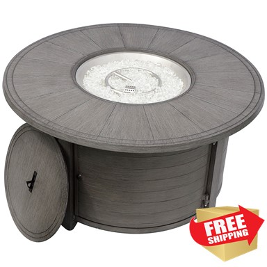 Brushed Wood Round Fire Pit