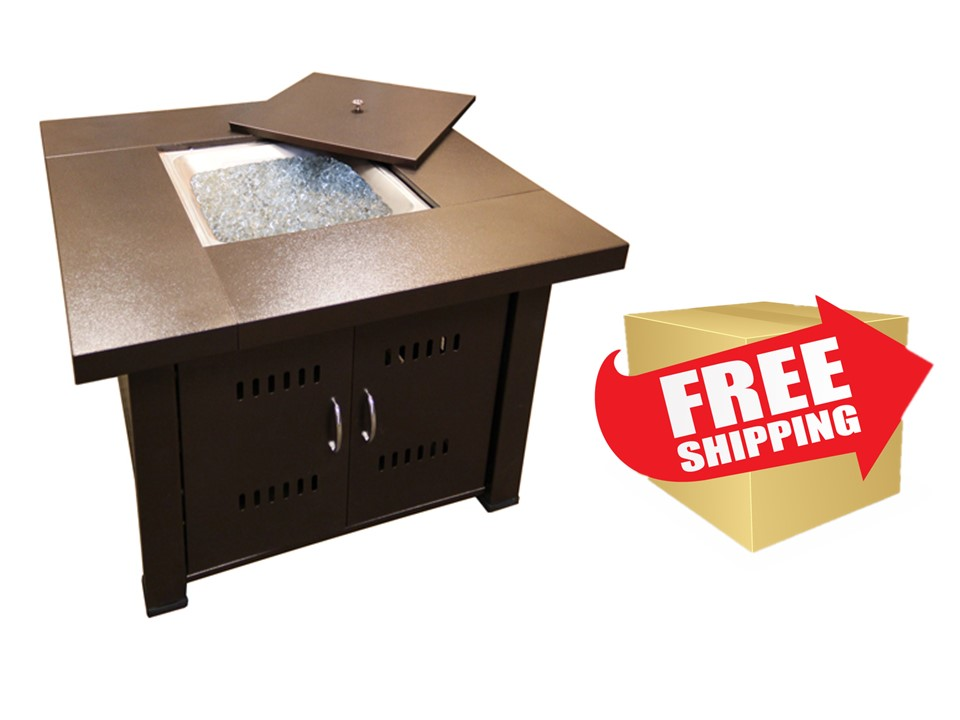 Hammered Bronze Square Fire Pit with Lid