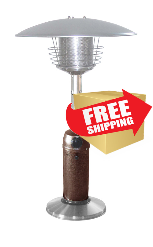 Outdoor Tabletop Patio Heater - Hammered Bronze & Stainless Steel Finish